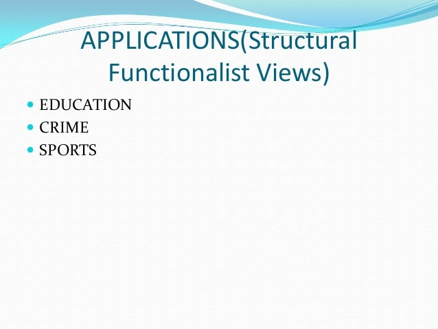 functionalist perspective on race Structural functionalism, or simply functionalism, is a framework for building theory that sees society as a complex system whose parts work together to promote solidarity and stability this approach looks at society through a macro-level orientation, which is a broad focus on the social.