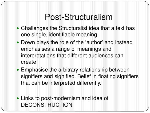 postmodernism and poststructuralism in literature The moment i heard camille paglia say that poststructuralism is a form of   postmodern will prove to be a useful and enduring literary term.