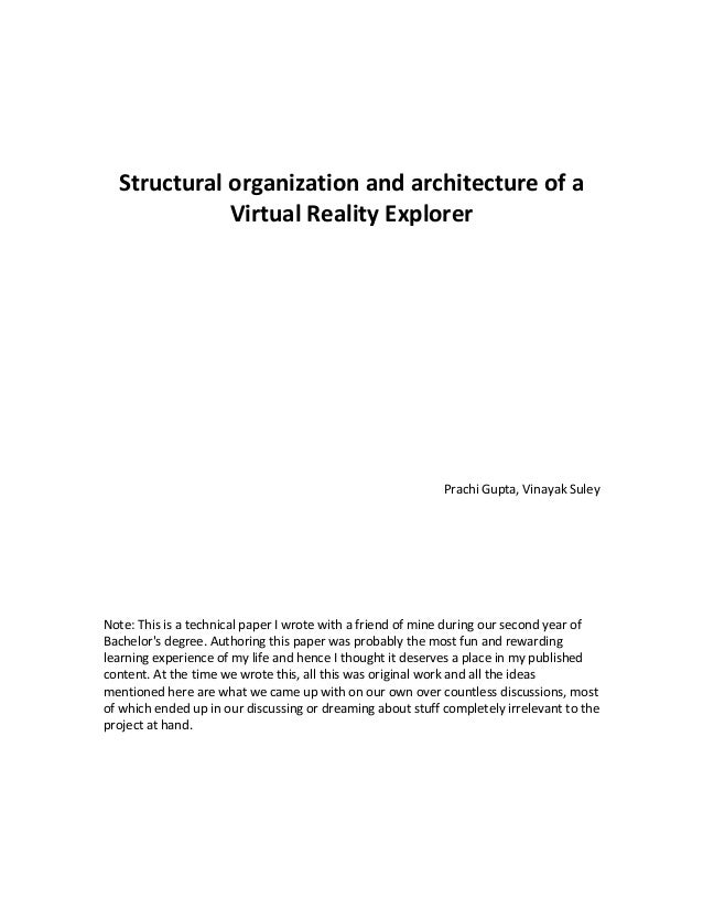 Structural organization and architecture of a virtual reality explorer