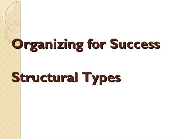 Organizing for Success Structural Types