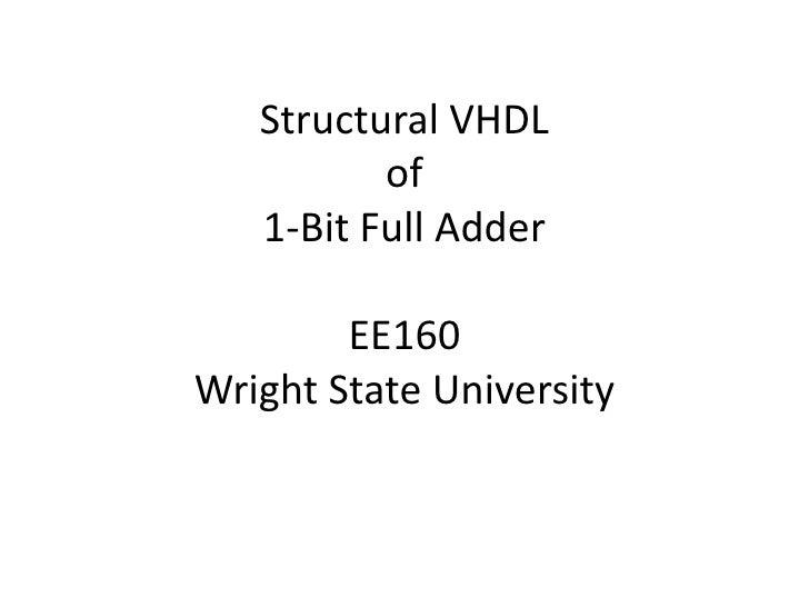 Structural VHDLof1-Bit Full AdderEE160Wright State University<br />