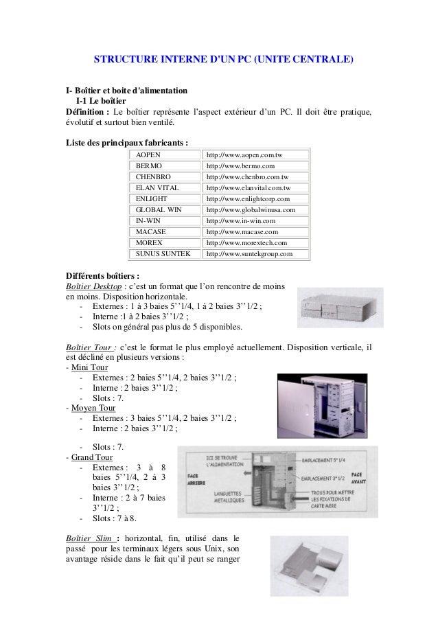 STRUCTURE INTERNE DUN PC (UNITE CENTRALE)I- Boîtier et boite dalimentationI-1 Le boîtierDéfinition : Le boîtier représente...