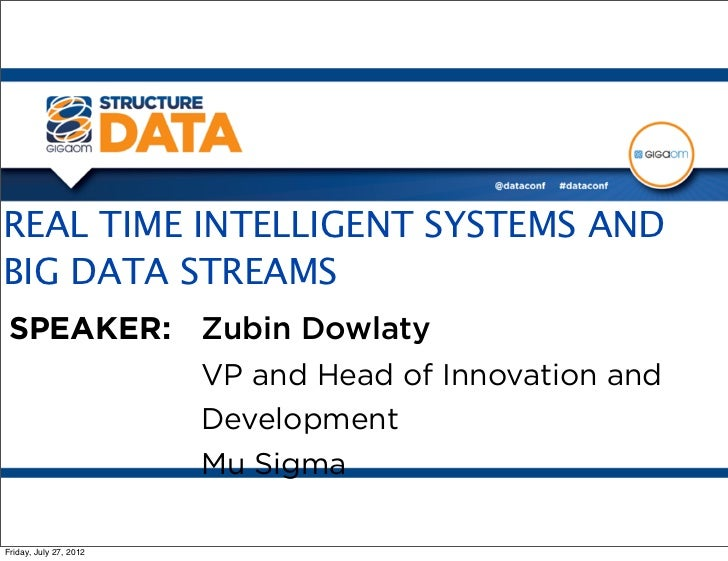 REAL TIME INTELLIGENT SYSTEMS ANDBIG DATA STREAMSSPEAKER: Zubin Dowlaty         VP and Head of Innovation and         Deve...