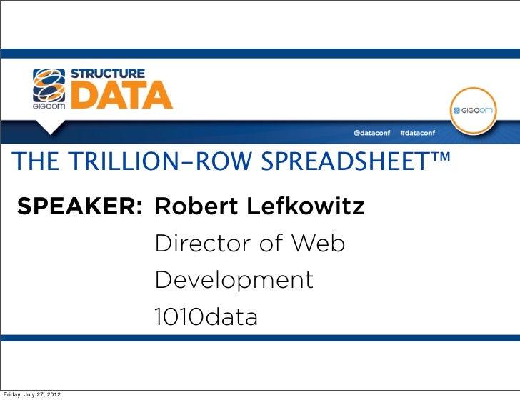 THE TRILLION-ROW SPREADSHEET™    SPEAKER: Robert Lefkowitz                        Director of Web                        D...