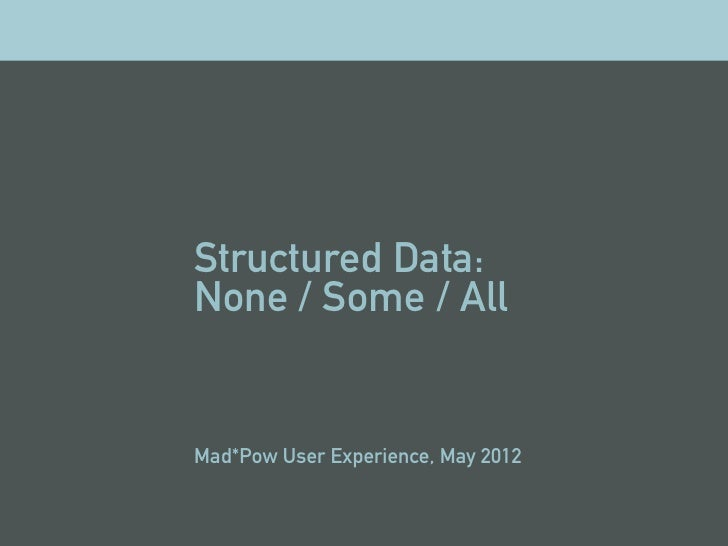 Structured data mp may 2012
