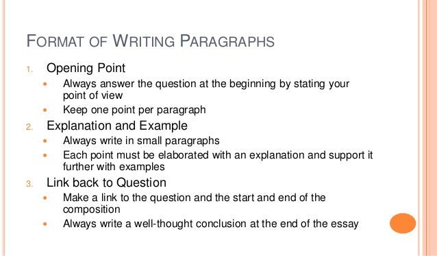 Answering multiple questions in essay format