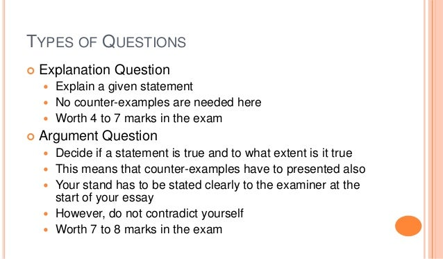 Types of essay questions examples