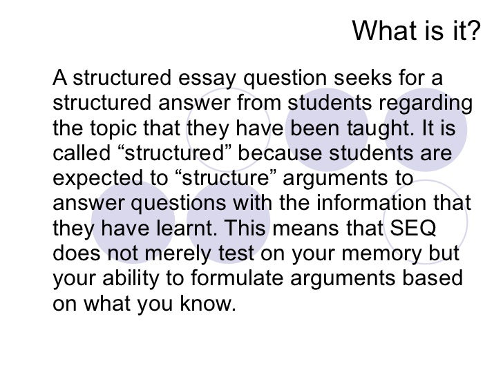 Structured essay