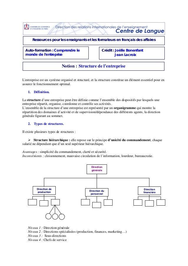 Ressources pour les enseignants et les formateurs en français des affaires Auto-formation : Comprendre le monde de l'entre...