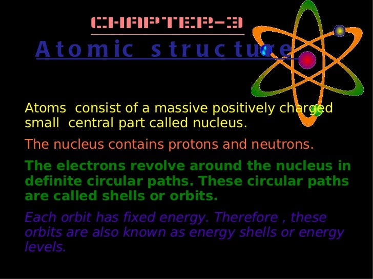 Chapter-3 Atomic structure <ul><li>Atoms  consist of a massive positively charged small  central part called nucleus. </li...