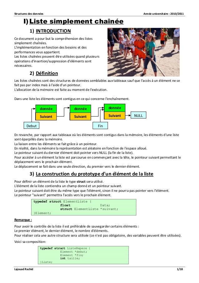Structures des données Année universitaire : 2010/2011  Lajouad Rachid 1/18  I) Liste simplement chaînée  1) INTRODUCTION ...