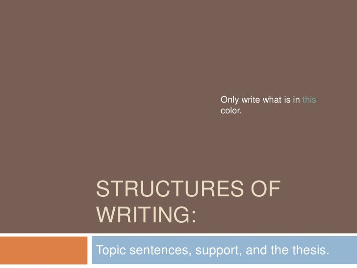 Structures of Writing:<br />Only write what is in this color.<br />Topic sentences, support, and the thesis.<br />