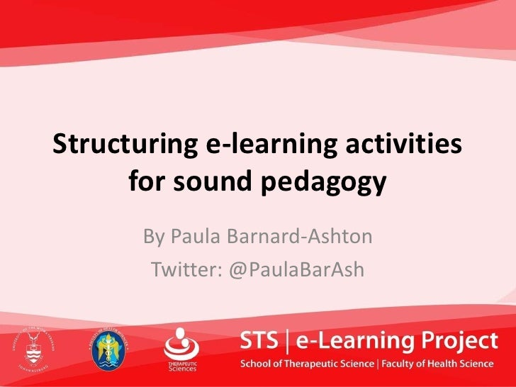 Structuring e-learning activities       for sound pedagogy        By Paula Barnard-Ashton         Twitter: @PaulaBarAsh