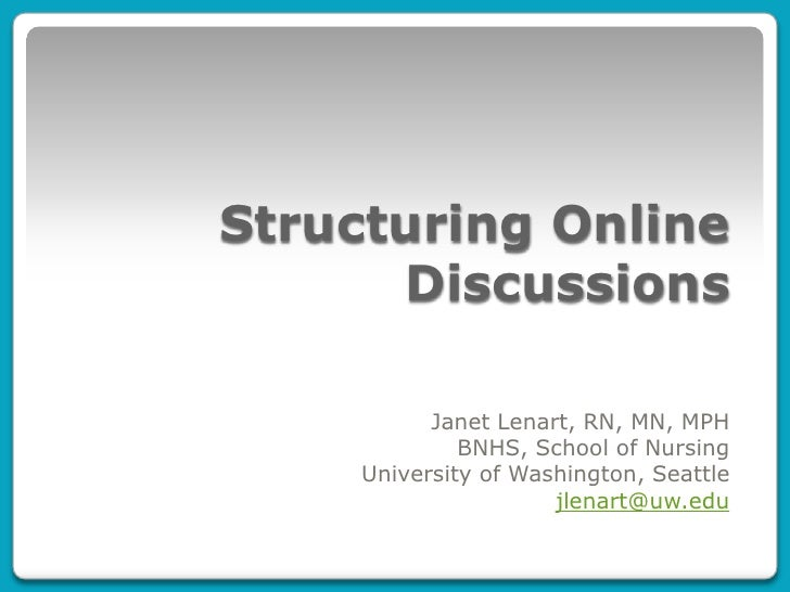 Structuring online discussions