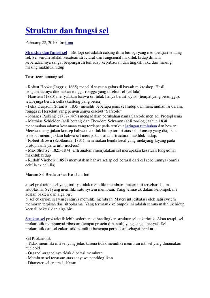 Struktur dan fungsi selFebruary 22, 2010 | In: ilmuStruktur dan fungsi sel – Biologi sel adalah cabang ilmu biologi yang m...
