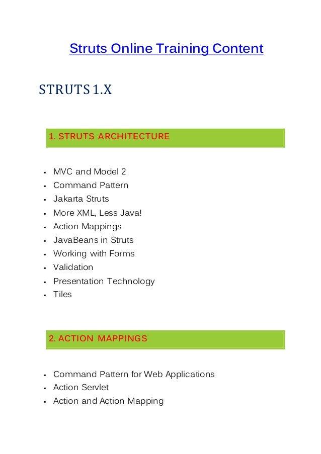 Struts online training for Struts 1 architecture