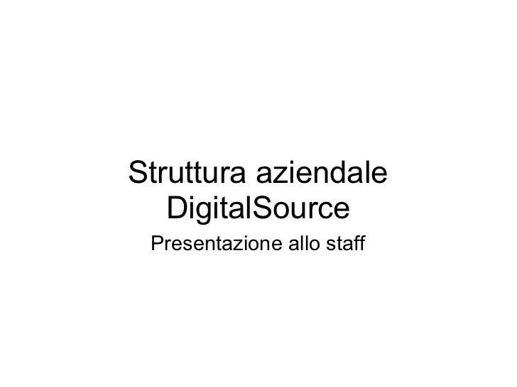 Struttura aziendale   DigitalSource Presentazione allo staff