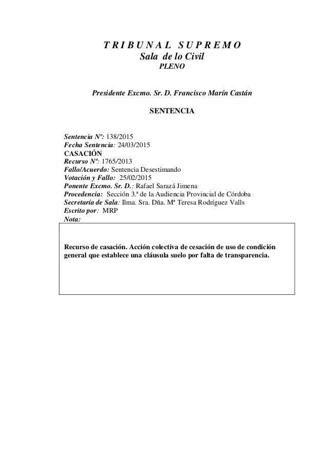 Sts clausula suelo 2015 for Clausula suelo pastor