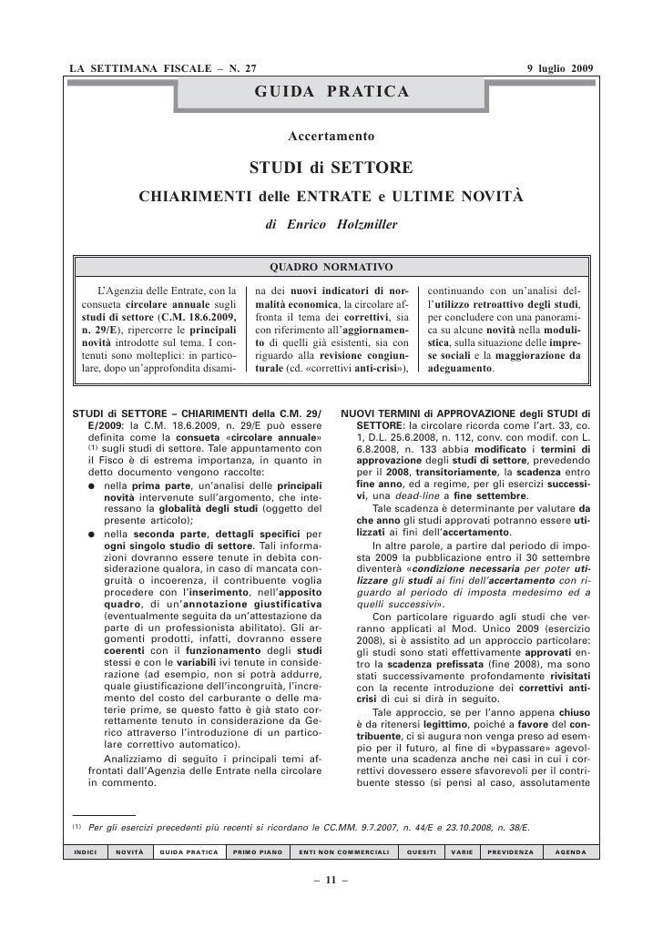 Studi Settore Circ 29 E 2009