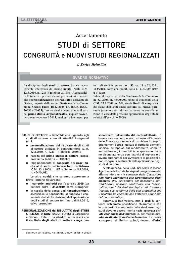 AccERTAMEnTO                                                  Accertamento                                 STUDI di SETTOR...