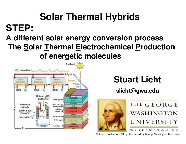 Solar Thermal HybridsSTEP:A different solar energy conversion processThe Solar Thermal Electrochemical Production         ...
