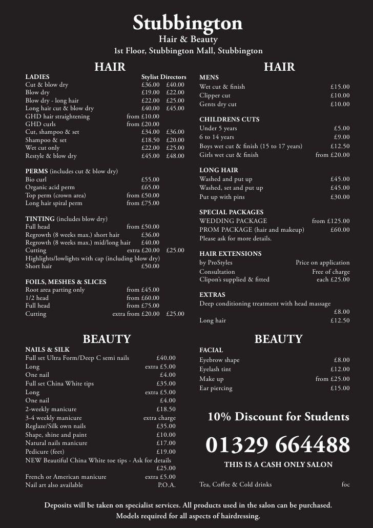Cb Hair Design Prices