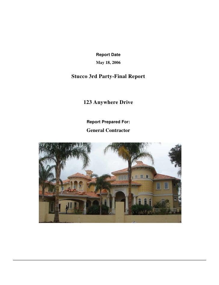 Stucco Installation Report