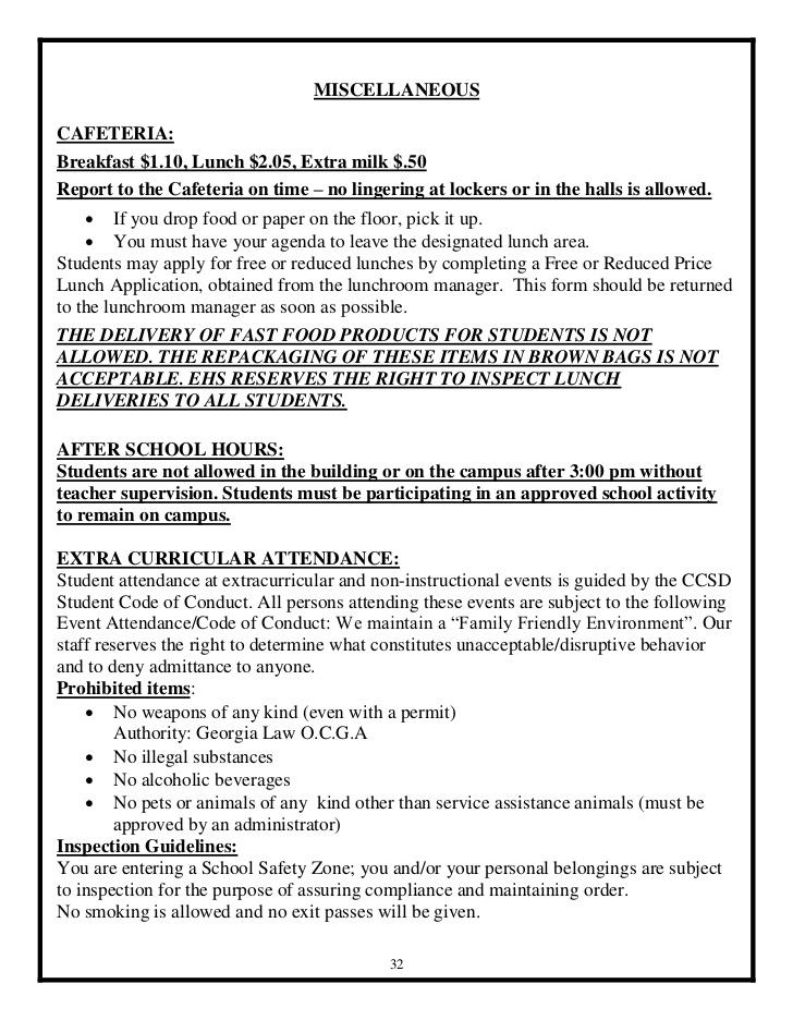 EHS Student Agenda - 2012-13