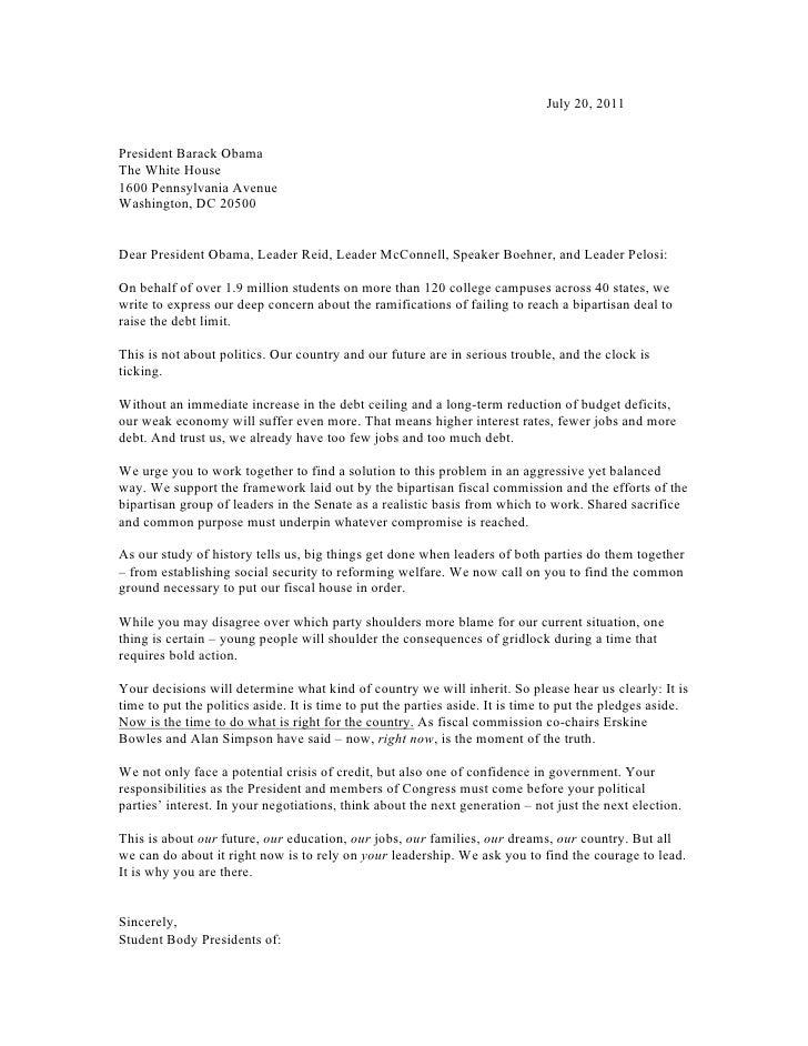 Student Body Presidents Debt Ceiling Letter