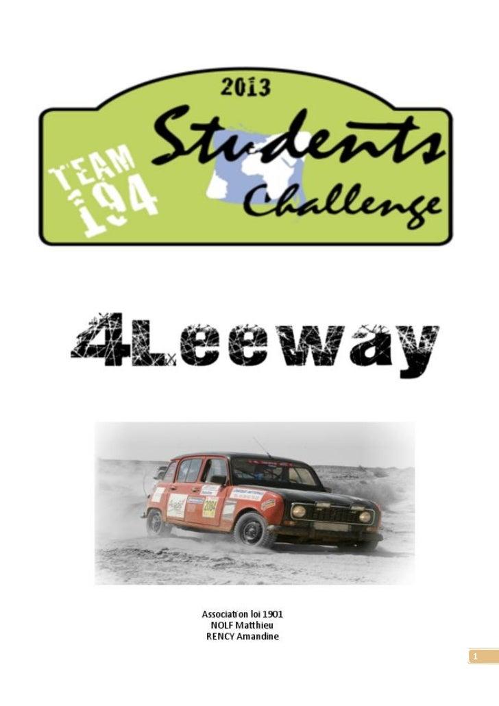Sponsoring Student Challenge 2013 - association 4Leeway