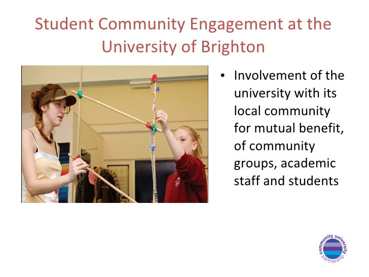 Student Community Engagement at the University of Brighton <ul><li>Involvement of the university with its local community ...