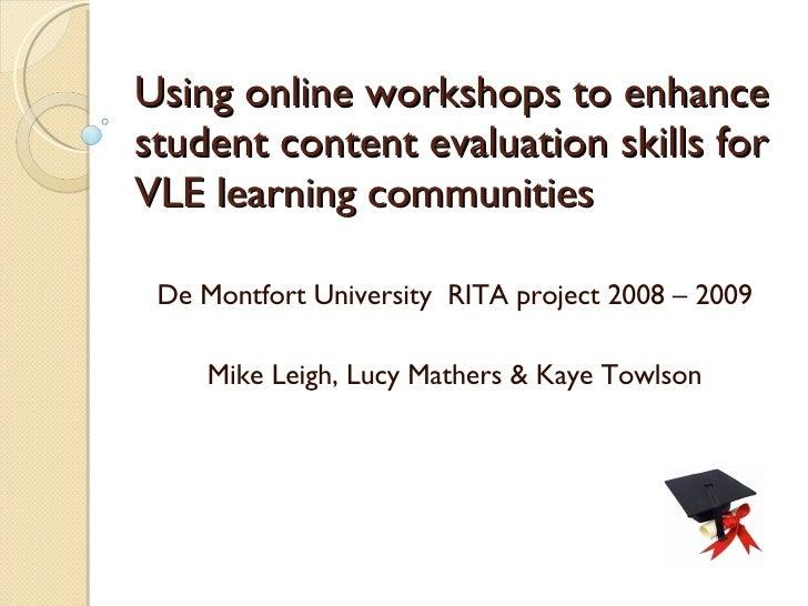 Student Content Evaluation UC & R April 2009