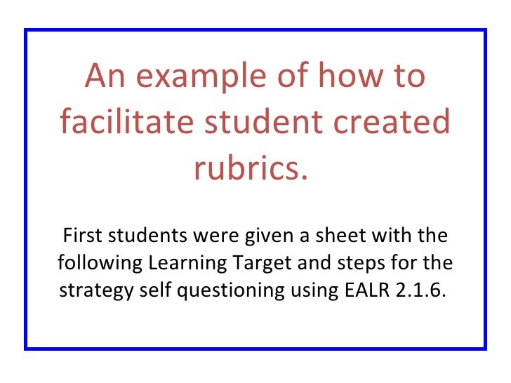 An example of how to facilitate student created rubrics.  First students were given a sheet with the following Learning Ta...