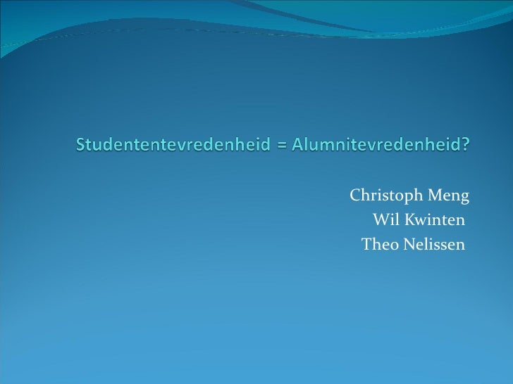 Studententevredenheid is alumni-tevredenheid