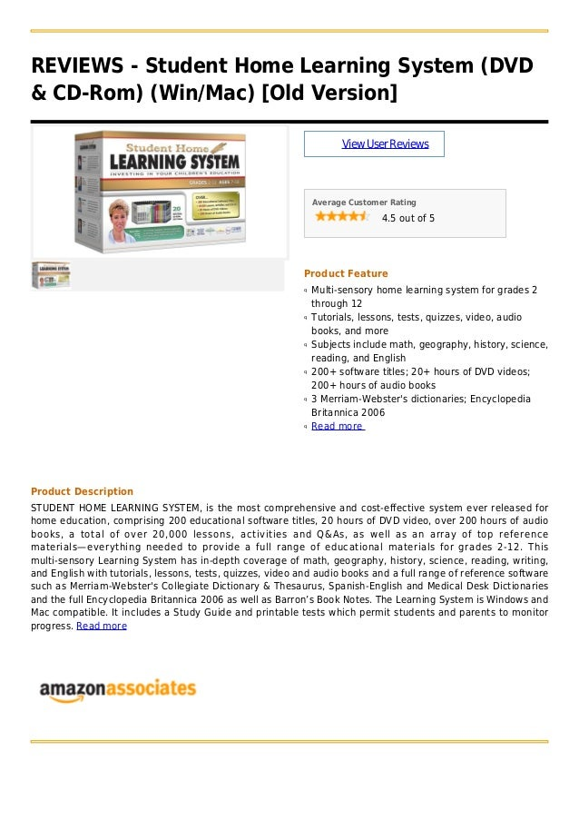 REVIEWS - Student Home Learning System (DVD& CD-Rom) (Win/Mac) [Old Version]ViewUserReviewsAverage Customer Rating4.5 out ...