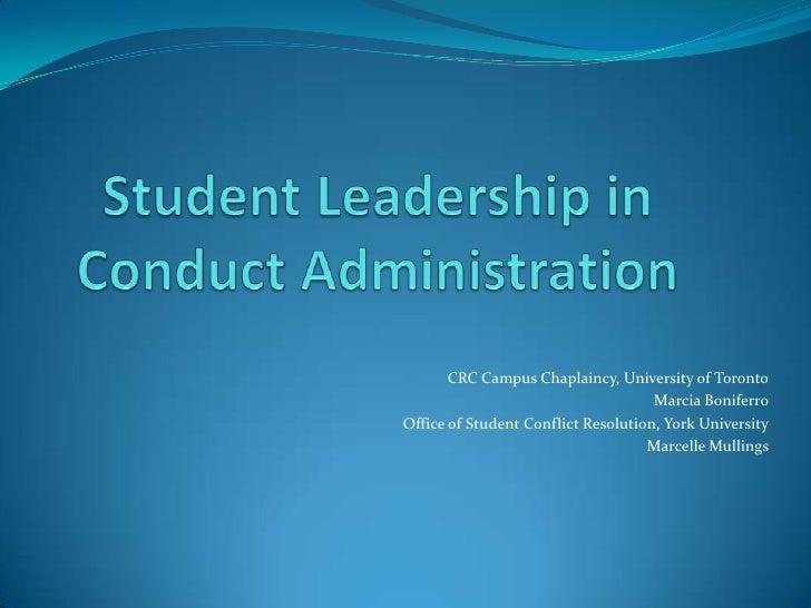 CRC Campus Chaplaincy, University of Toronto                                     Marcia BoniferroOffice of Student Conflic...