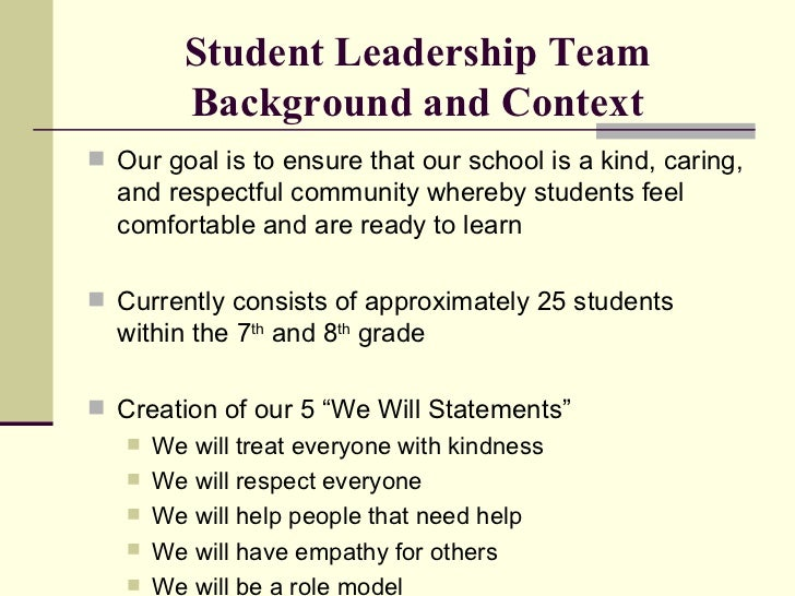 student leader essays Student essays printed with permission: topic – based on your personal experiences, describe what leadership means to you elaborate on an experience where you.