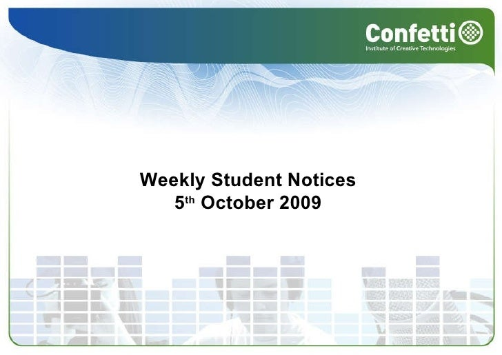 Weekly Student Notices  5 th  October 2009