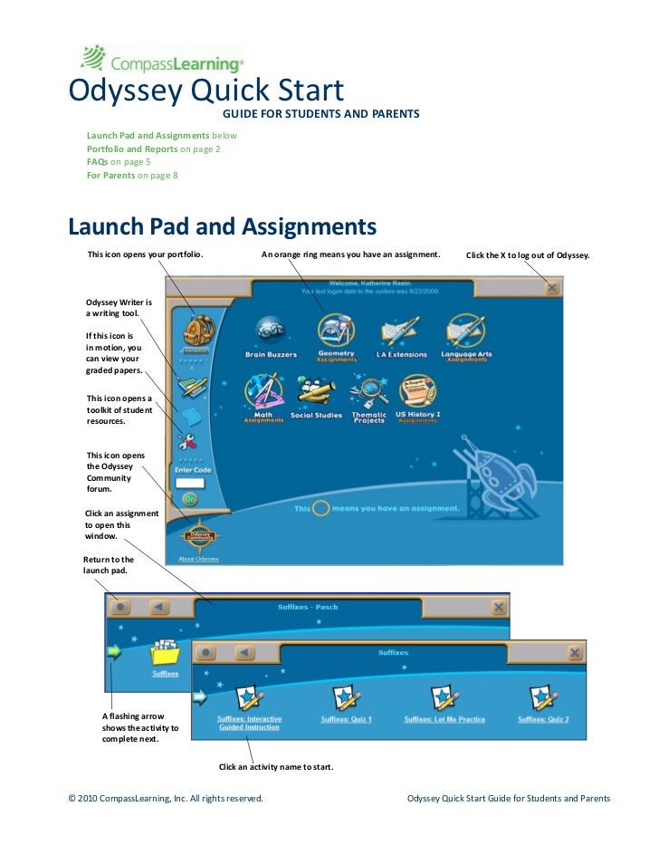 OdysseyQuickStart                                       GUIDEFORSTUDENTSANDPARENTS    LaunchPadandAssignmentsbel...