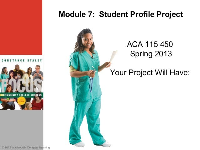 Module 7: Student Profile Project© 2012 Wadsworth, Cengage LearningACA 115 450Spring 2013Your Project Will Have: