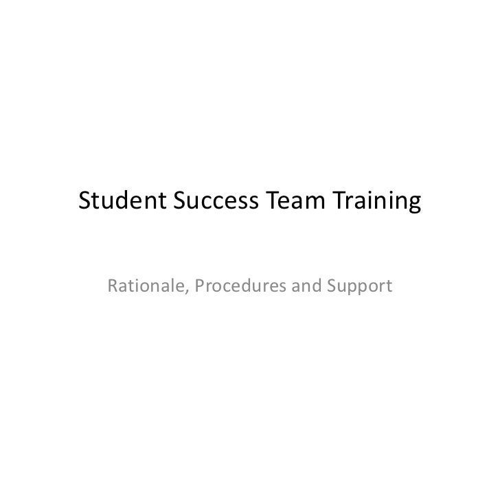 Student Success Team Training  Rationale, Procedures and Support