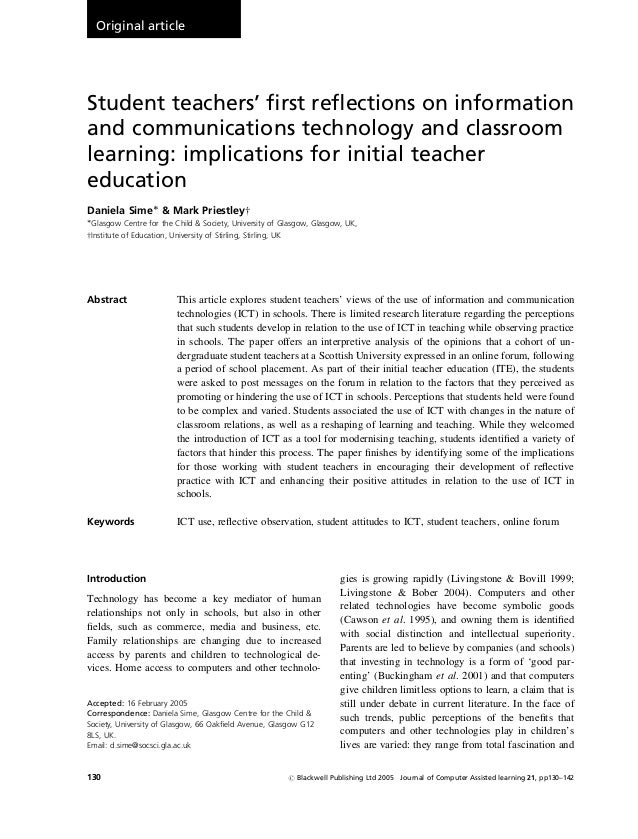 Original article  Student teachers' first reflections on information and communications technology and classroom learning: i...
