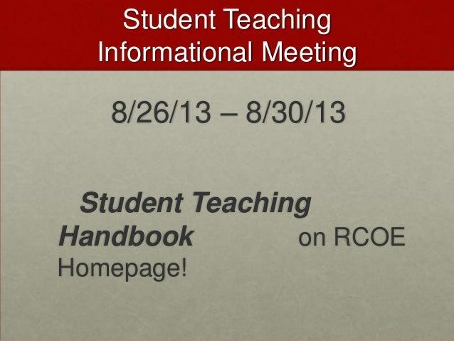 Student Teaching Informational Meeting