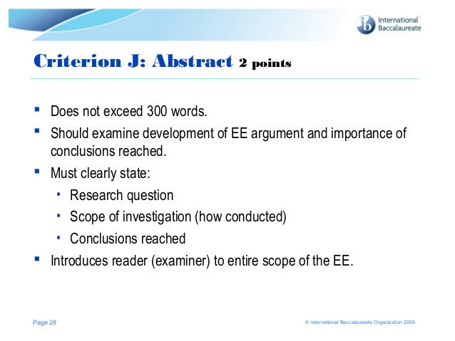When do I write an abstract for my extended essay?