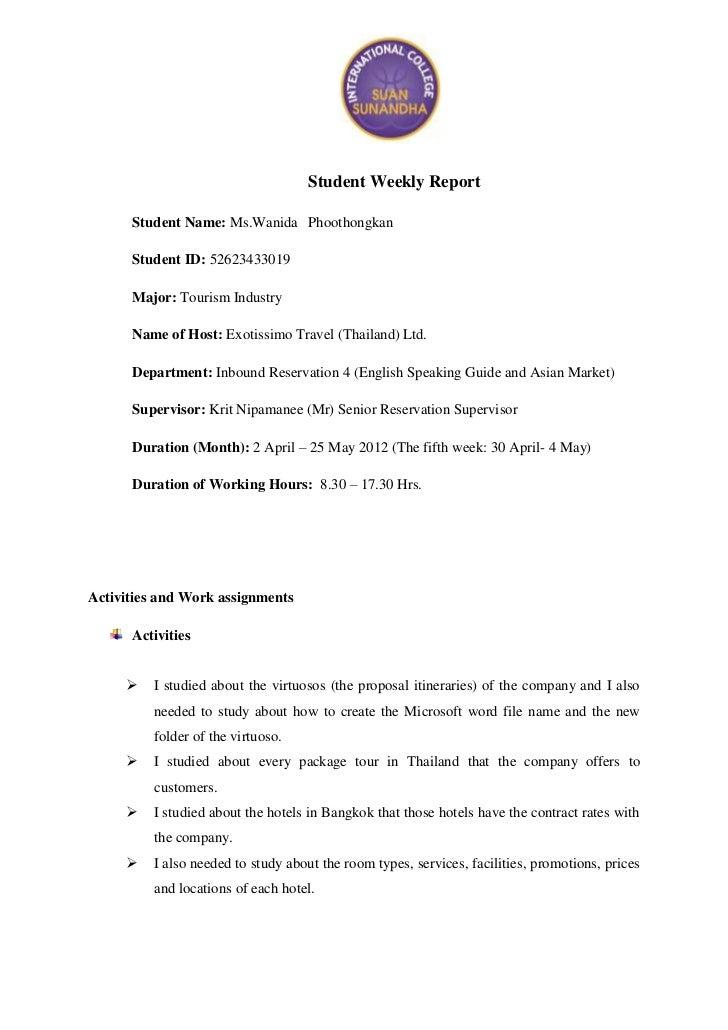Student Weekly Report      Student Name: Ms.Wanida Phoothongkan      Student ID: 52623433019      Major: Tourism Industry ...
