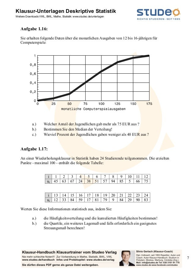 studeo aufgabensammlung deskriptive statistik ein merkmal. Black Bedroom Furniture Sets. Home Design Ideas