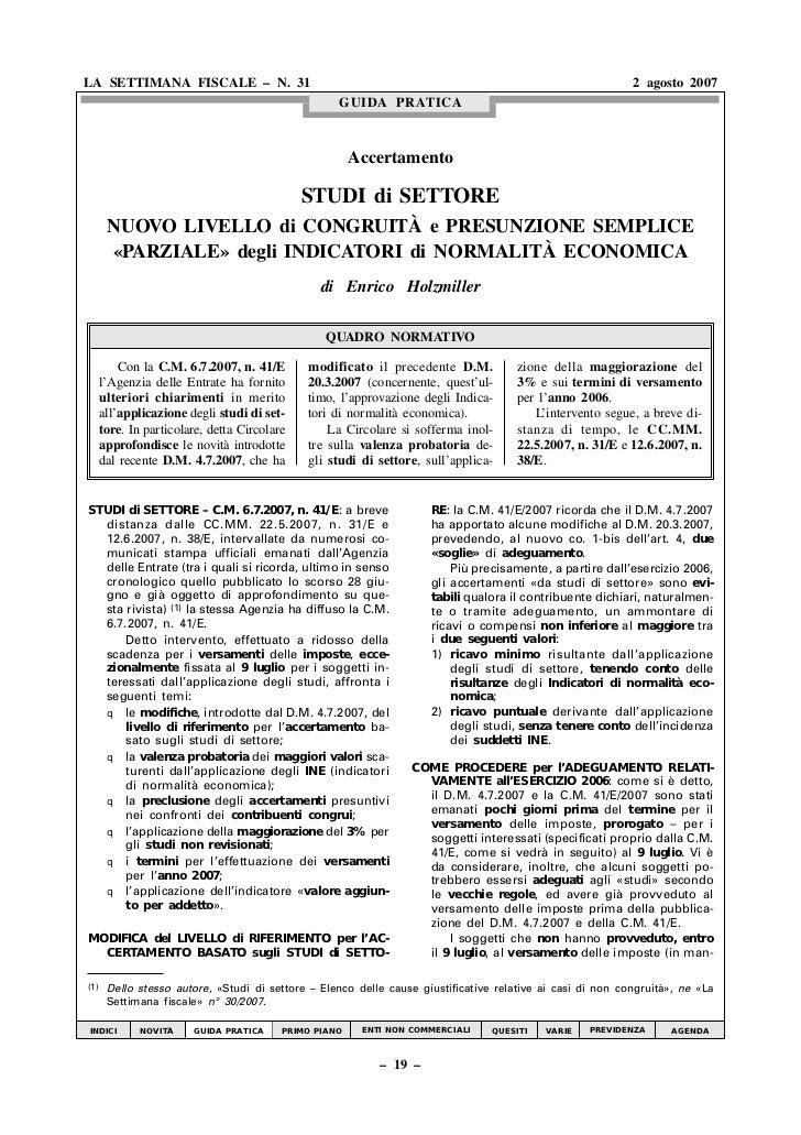 LA SETTIMANA FISCALE – N. 31                                                                                2 agosto 2007 ...