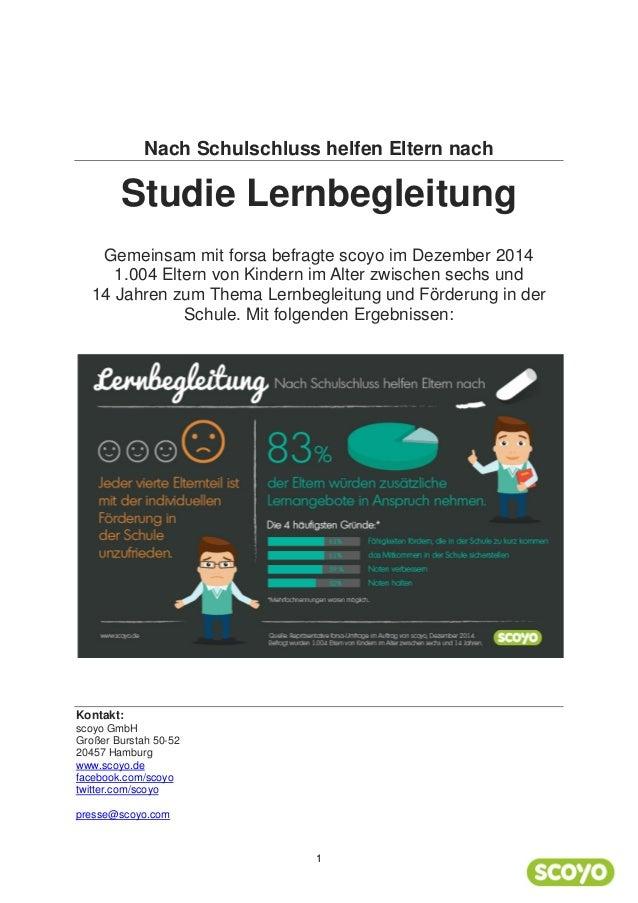 Nach Schulschluss helfen Eltern nach Studie Lernbegleitung Gemeinsam mit forsa befragte scoyo im Dezember 2014 1.004 Elter...