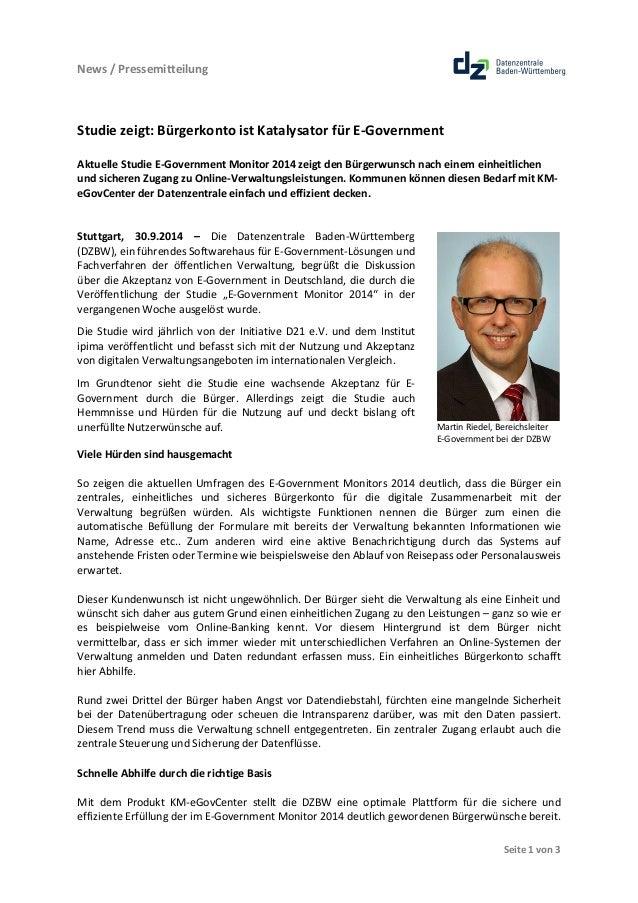 News  /  Pressemitteilung  Martin  Riedel,  Bereichsleiter  E-‐Government  bei  der  DZBW  Seite  1  von  3  Studie  zeig...