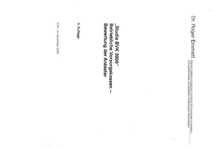 Studie betriebliche Vorsorgekassen   Bewertung der Anbieter